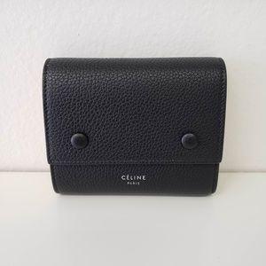 Céline Multifunction Snap Leather Wallet - Black